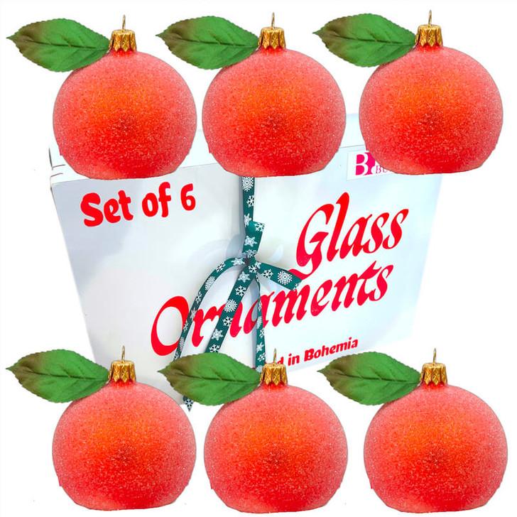 Orange Peach Ornament Set of 6