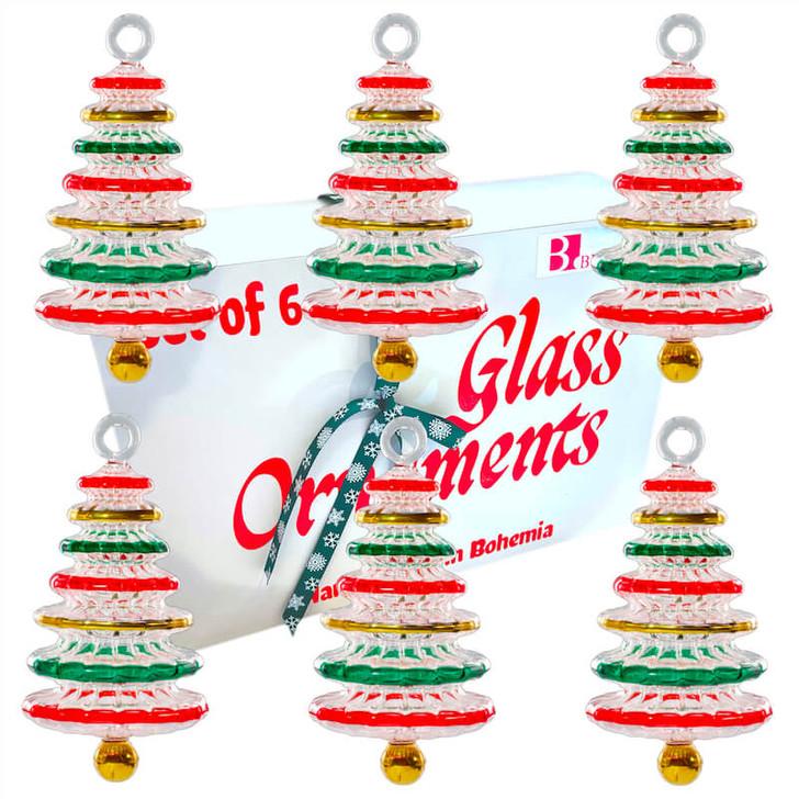 Festive Tree Glass Ornament Set of 6