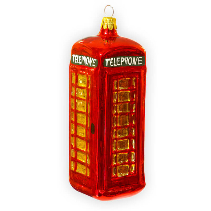Telephone Booth Glass Ornament