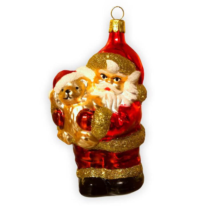 Santa with Teddy Bear Glass Ornament