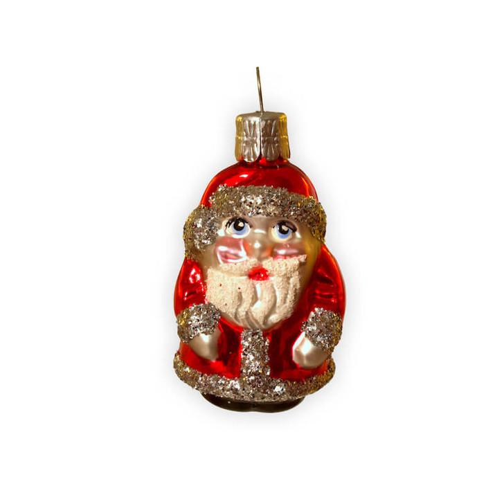 Santa Mini Glass Ornament