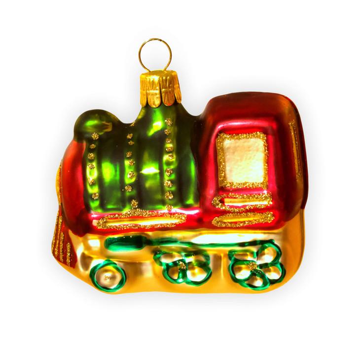 Locomotive Train Glass Ornament