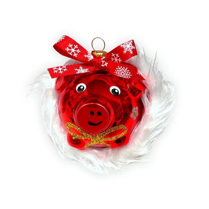 Rosie the Pig in a Santa Hat