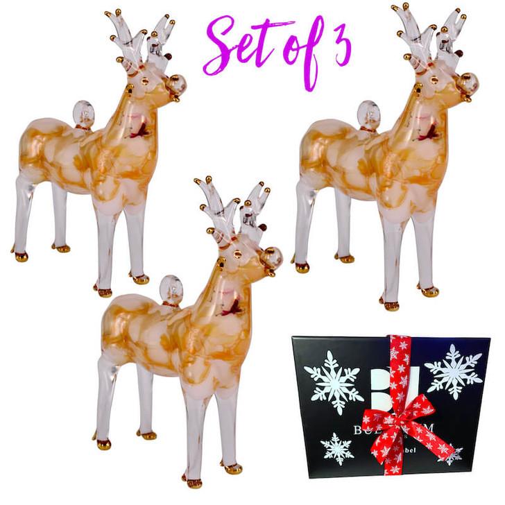 Reindeer Glass Ornament Set of 3