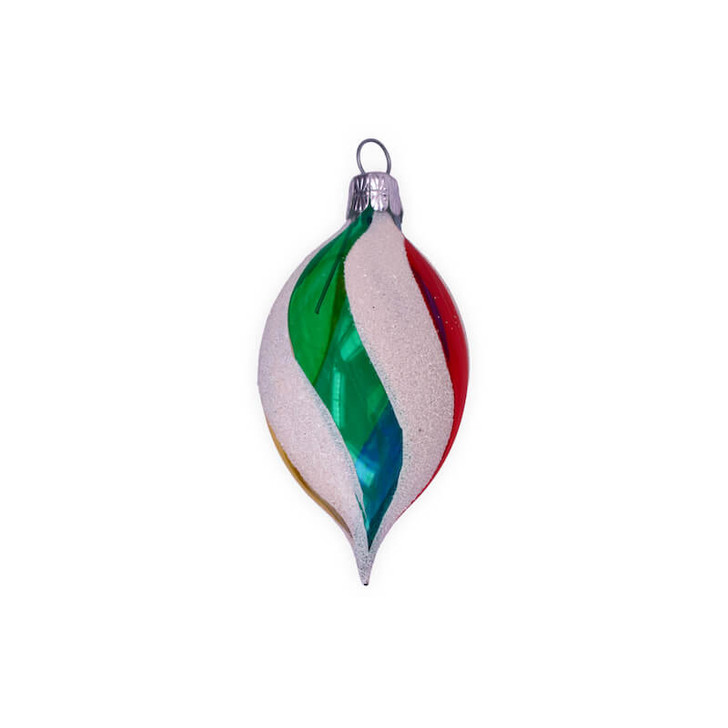 Retro Rainbow Olive Small Glass Ornament