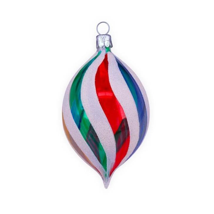Retro Rainbow Olive Glass Ornament