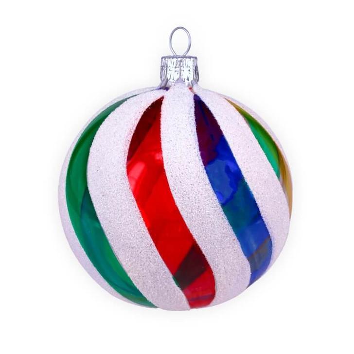 Retro Rainbow Ball Glass Ornament