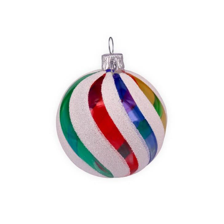 Retro Rainbow Medium Glass Ornament