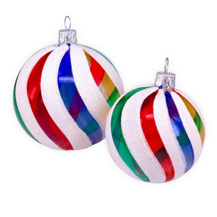 Retro Rainbow Set of 2 Glass Ornaments