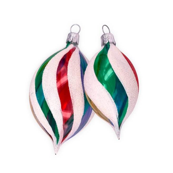 Retro Rainbow Set of 2 Olive Glass Ornaments
