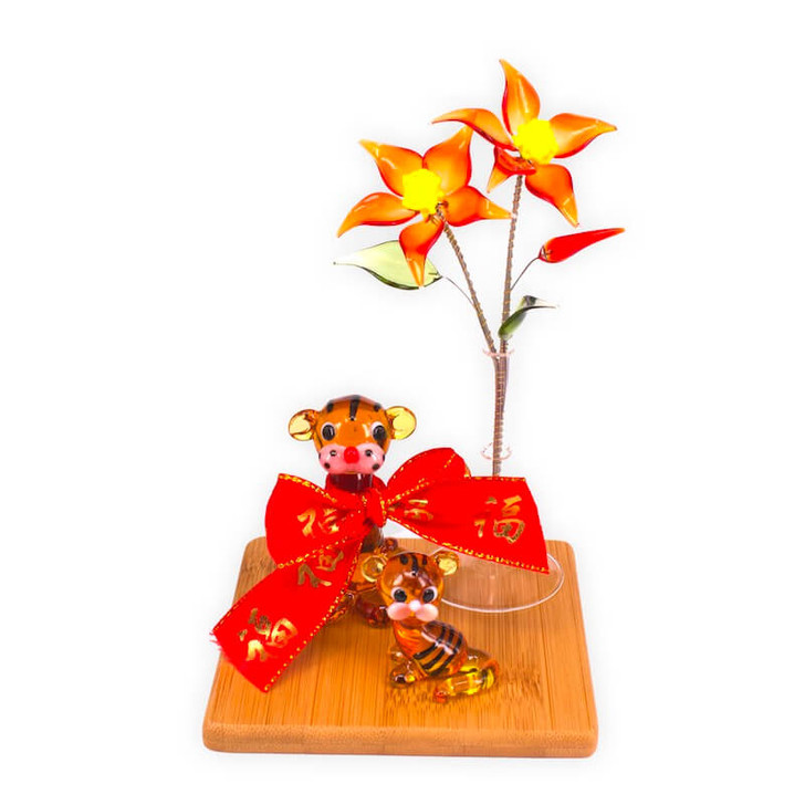 Tiger Mother and Baby Flower Set