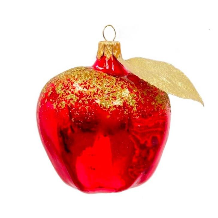 Apple Glass Ornament Red Gold Bullarum