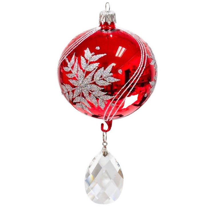 Silver Snowflake Glass Ornament Ice Red