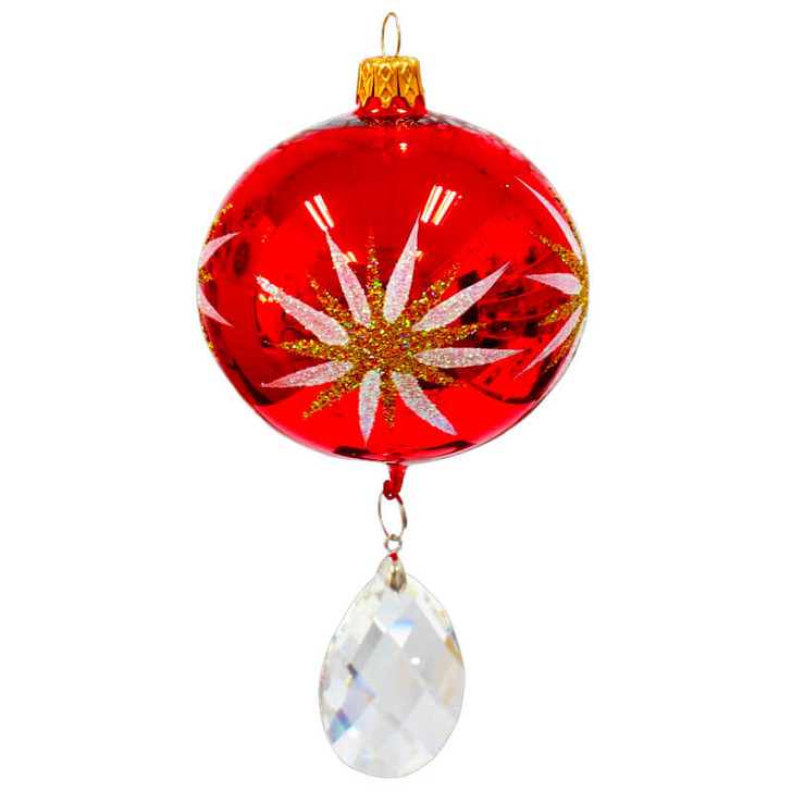 Festive Star Glass Ornament with Crystal Pendant