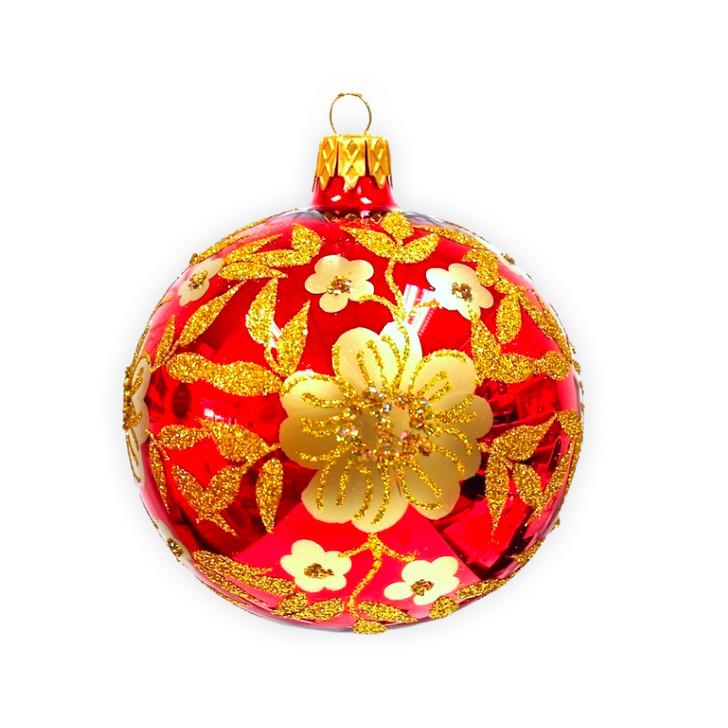 Festive Flower Medium Glass Ornament