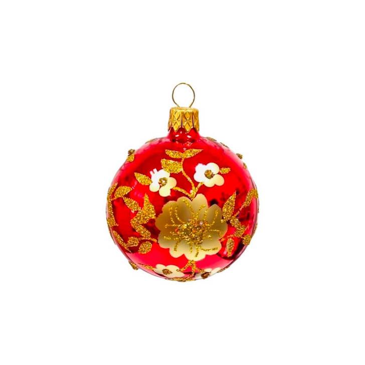 Festive Flower Ice Red Glass Ornament Bullarum