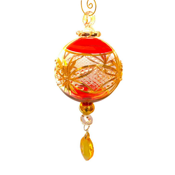 Princess Etched Glass Ornament with Crystal Pendant