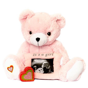 "The Pink Gender Reveal Bear recordable stuffed animal kit includes a fluffy, pink-colored teddy bear, an attached 3x5"" pink frame that holds your ultrasound photo, and a recorder to capture the sound of your baby's heartbeat during an ultrasound. The pink Bear is 13"" long, perfect snuggle size. This bear kit  makes an excellent baby shower gifts or pregnancy keepsake."