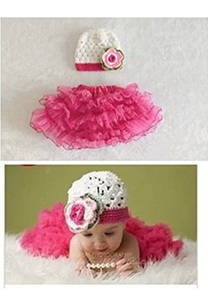 Rose Red Crochet Beanies Hat and Tu-Tu Skirt