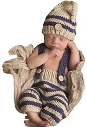 Crochet Knit Tan/Navy Stripe Hat, Pants/Overalls