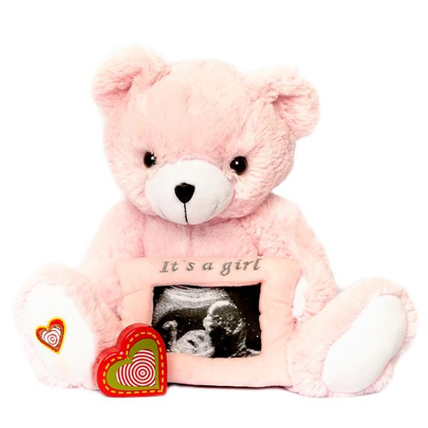 """The Pink Gender Reveal Bear recordable stuffed animal kit includes a fluffy, pink-colored teddy bear, an attached 3x5"""" pink frame that holds your ultrasound photo, and a recorder to capture the sound of your baby's heartbeat during an ultrasound. The pink Bear is 13"""" long, perfect snuggle size. This bear kit  makes an excellent baby shower gifts or pregnancy keepsake."""