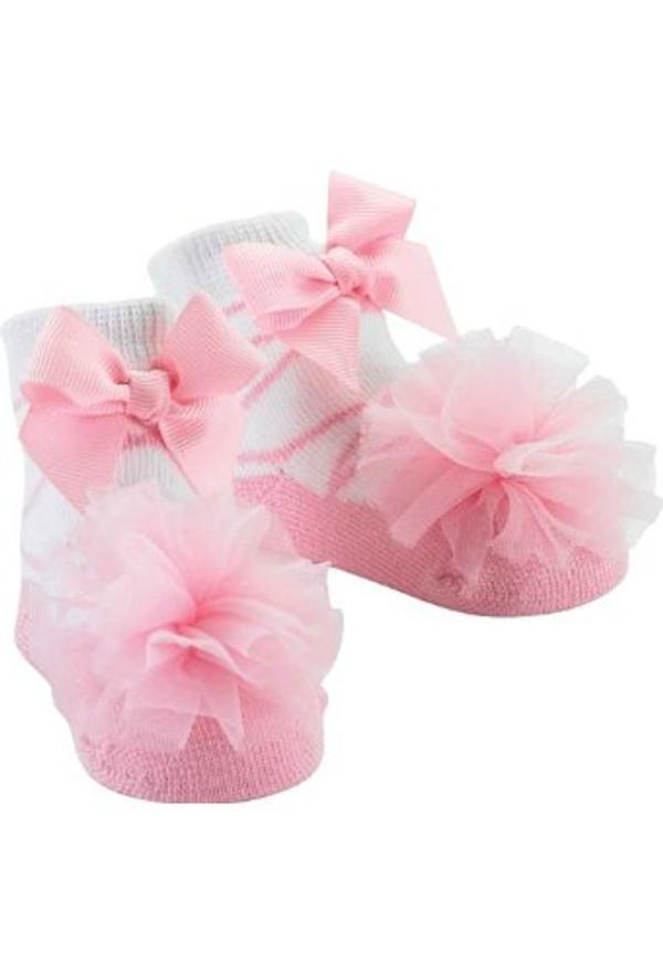 "Baby Girl - Pink Tulle Puff Socks ""Ballerina"""