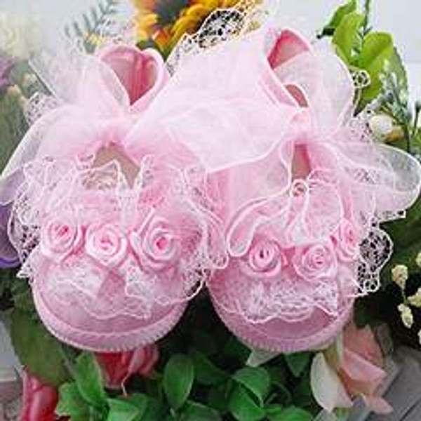Rose Style Soft Sole Princess Floral Crib Shoes