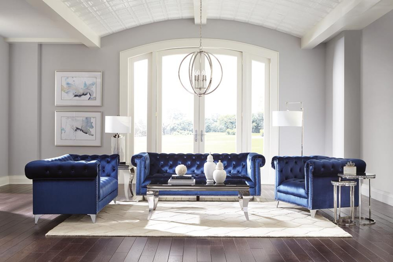 Blue Sofa 3 Pc Set 509481 S3 On Sale At Montana S Home Furniture Serving Houston Tx