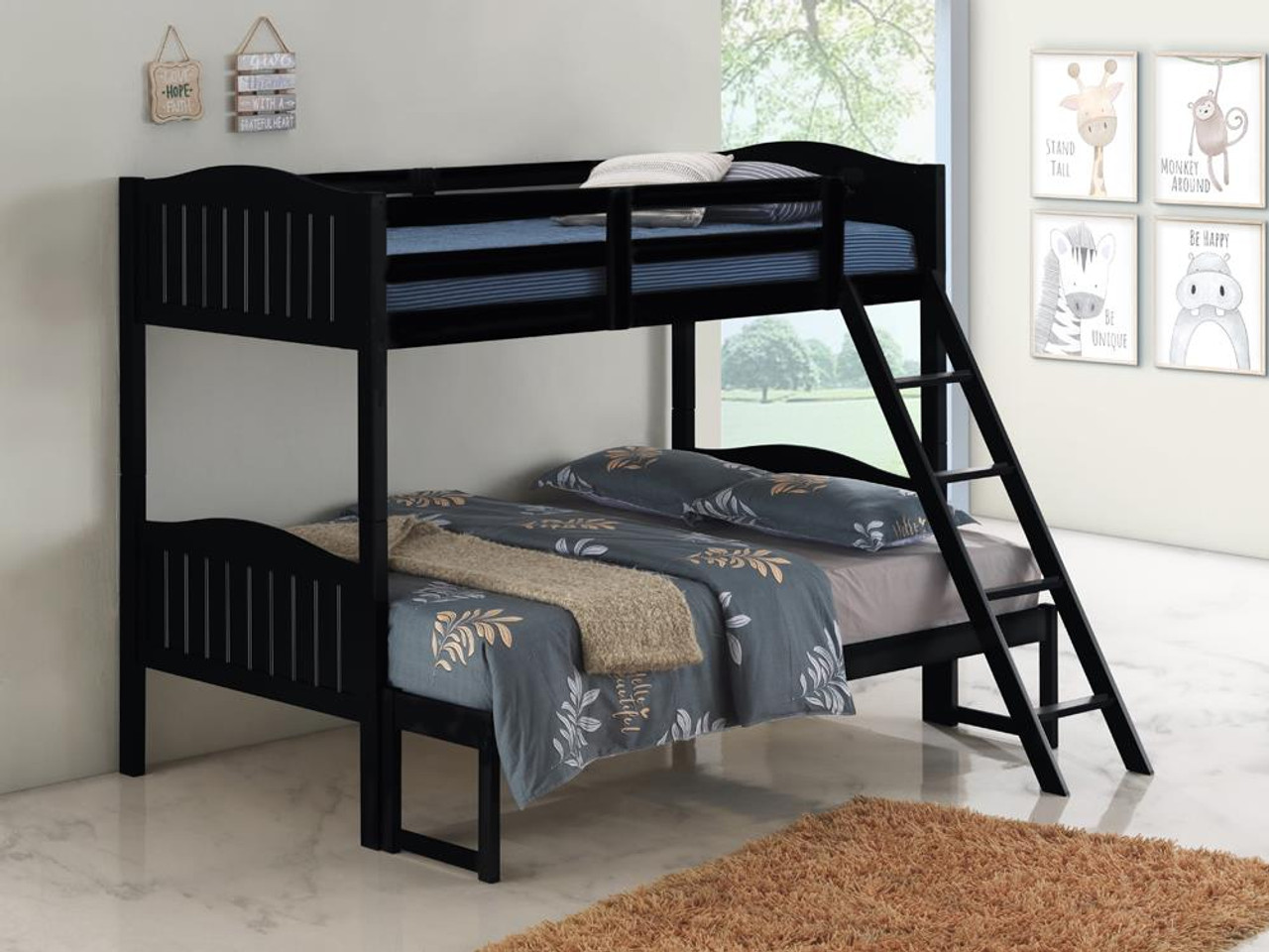 Littleton Bunk Bed Littleton Twin Full Bunk Bed With Ladder Black 405054blk On Sale At Montana S Home Furniture Serving Houston Tx