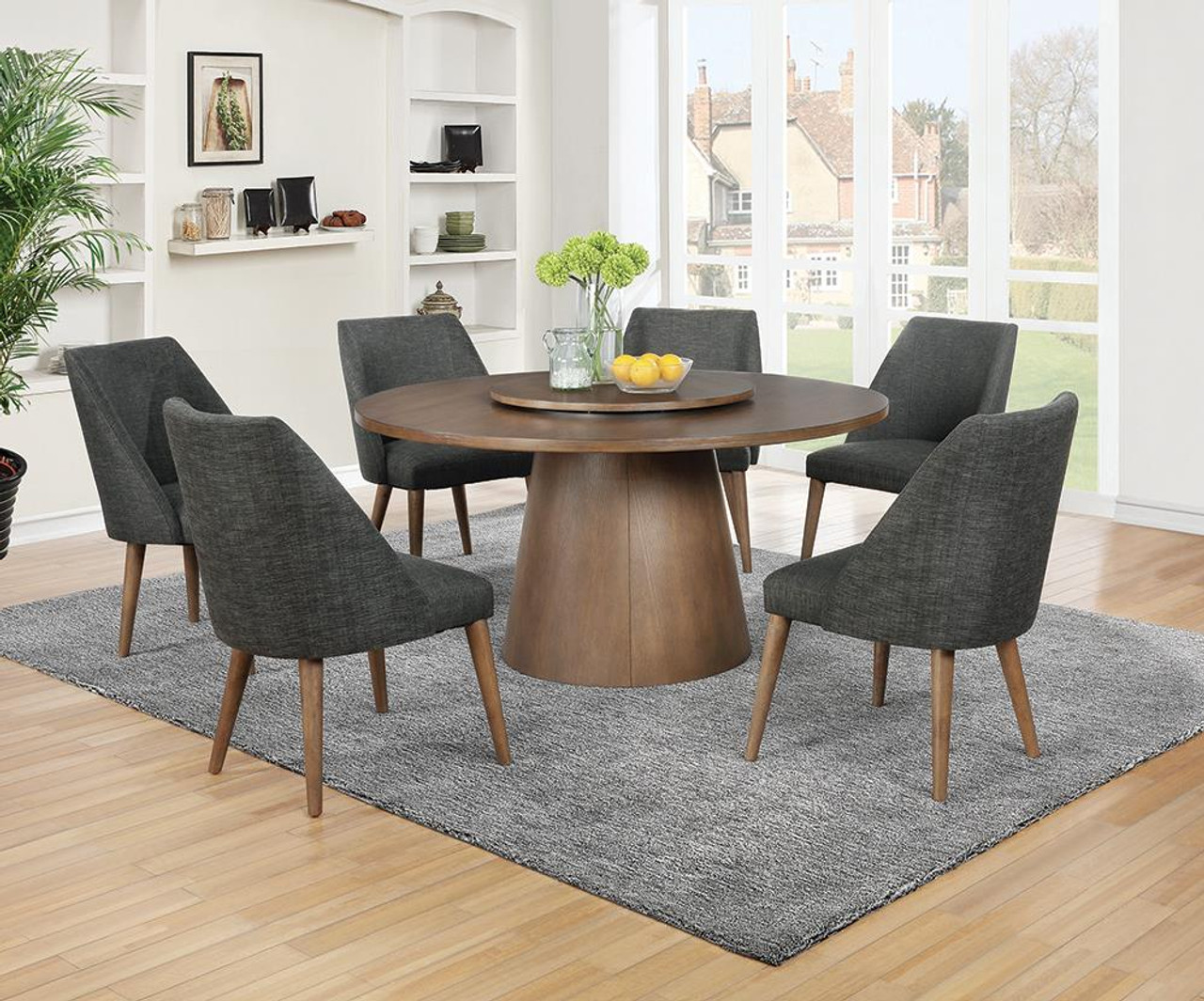 Beverly Collection   Beverly Drum Base Round Dining Table Dark Cocoa    9