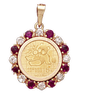 14K Gold DIAMOND / RUBY Bezel - Panda 1/20oz.