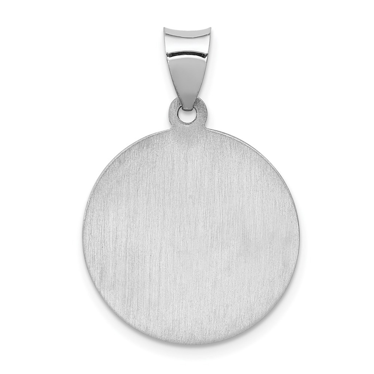 Anthony Medal Pendant 19mm width 14K White Gold Polished and Satin St
