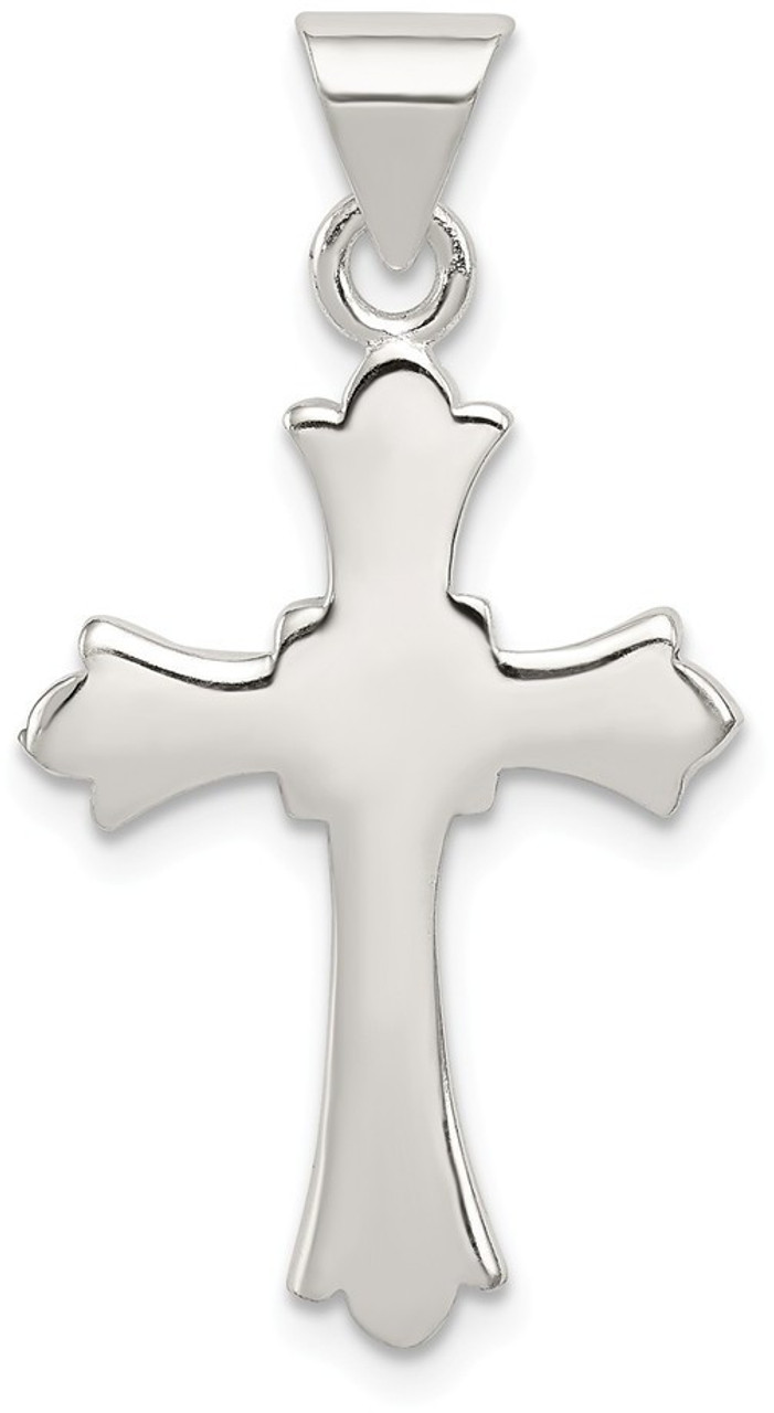 NEW! Polished /'Fleur De Lis/' Cross Pendant in Solid 925 Sterling Silver