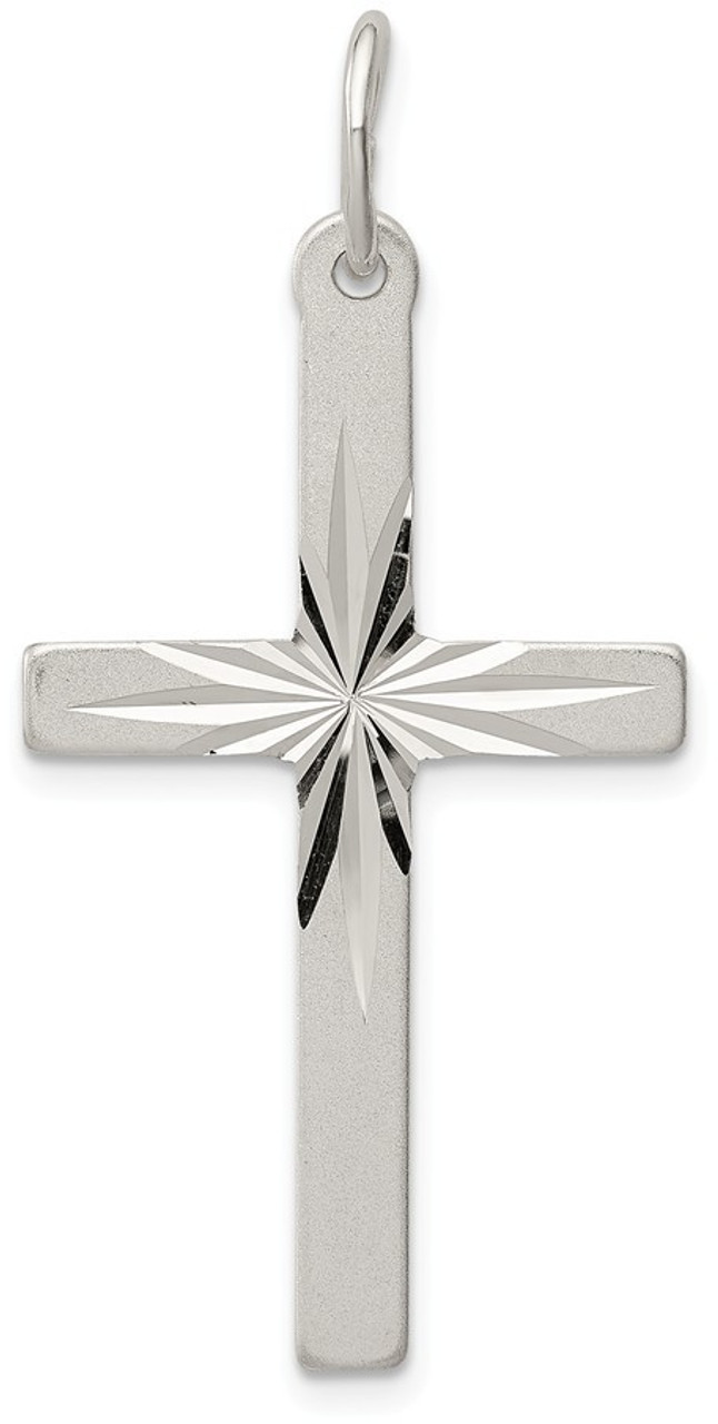925 Sterling Silver Cross Pendant Crucifix Charm 28mm x 14mm