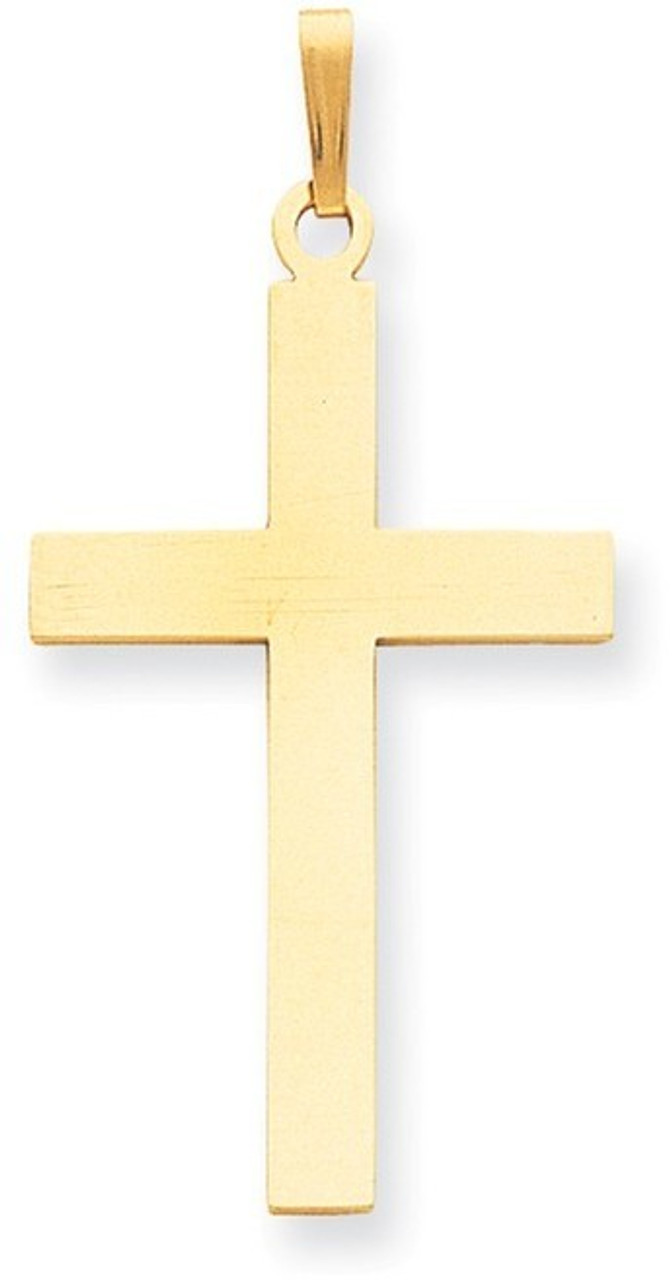 Sterling Silver Polished /& Satin Draped Cross Pendant