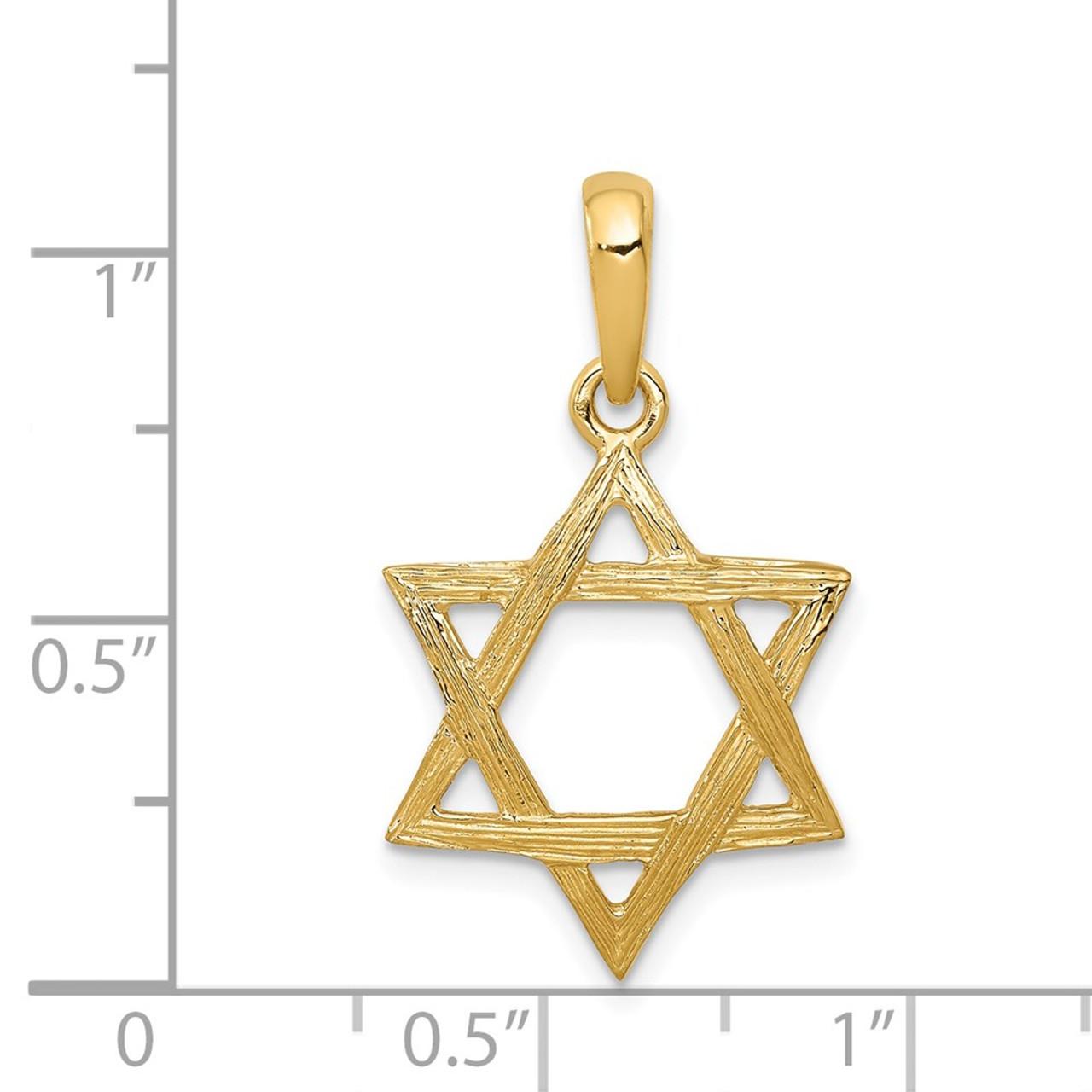 14k Yellow Gold Star of David CZ Pendant Size : 21 x 15 mm