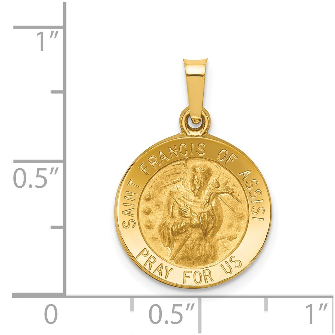 Francis Medal Pendant XR1322 14K Yellow Gold Polished /& Satin St