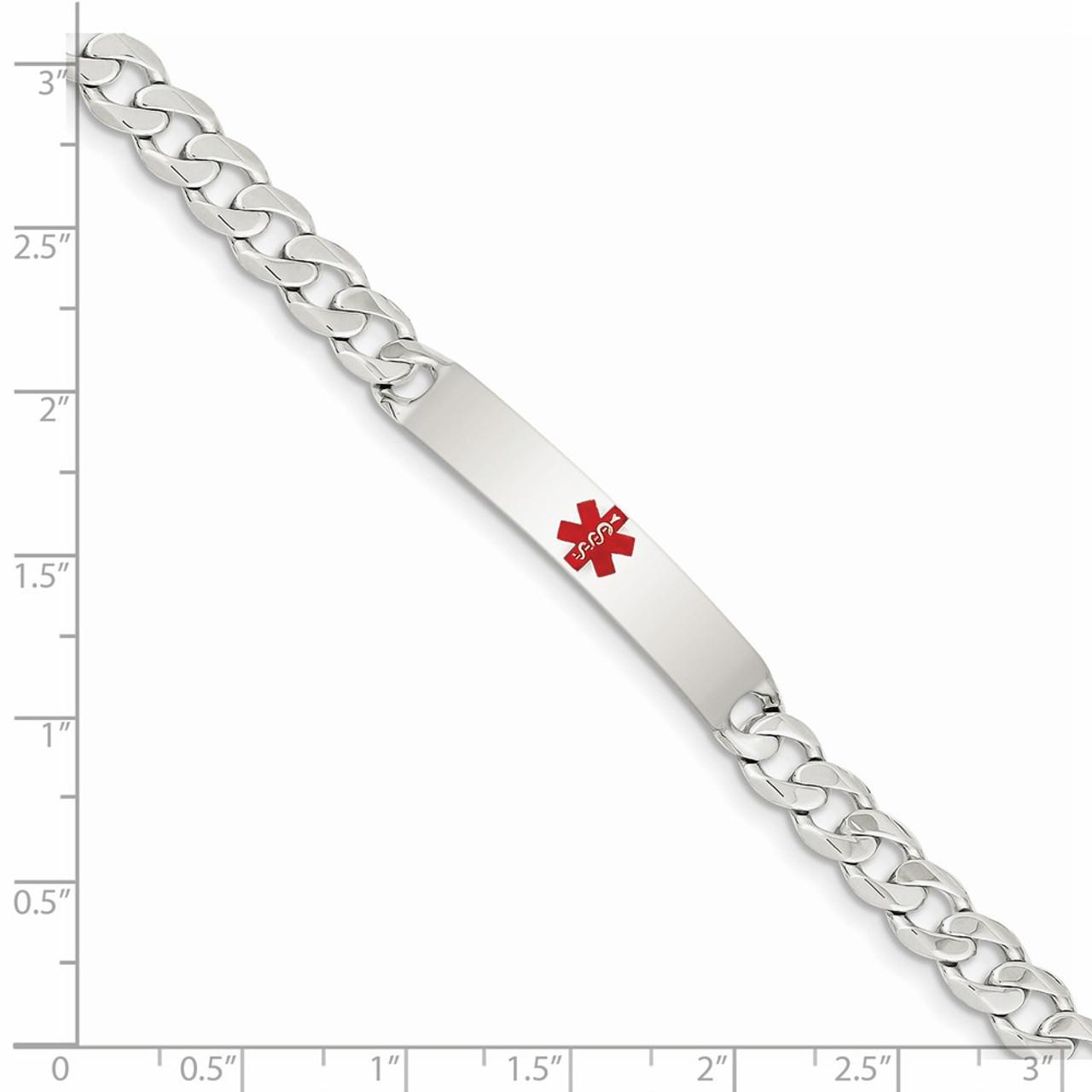 Sterling Silver Medical ID Bracelet w//Curb Link