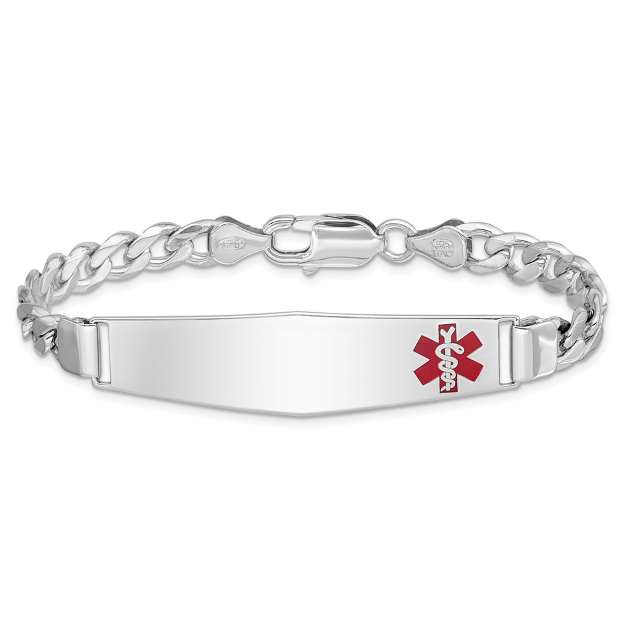 Sterling Silver Medical ID Curb Link Bracelet