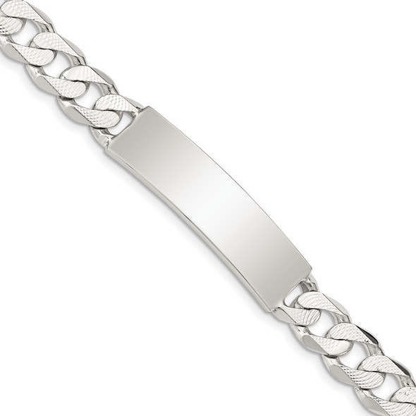 """8"""" Sterling Silver Polished Engravable Patterned Curb Link ID Bracelet"""