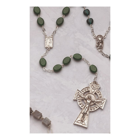 "5"" Celtic Crucifix Glass Shamrock Bead Rosary Bracelet"