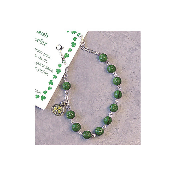 "5"" Green Glass Shamrock Bead Rosary Bracelet"