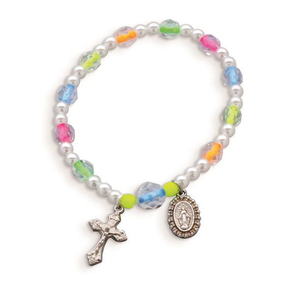 "6"" Children's Neon Color Bead Rosary Bracelet"