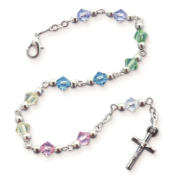 "6.5"" Multi-color Bead Rosary Bracelet"