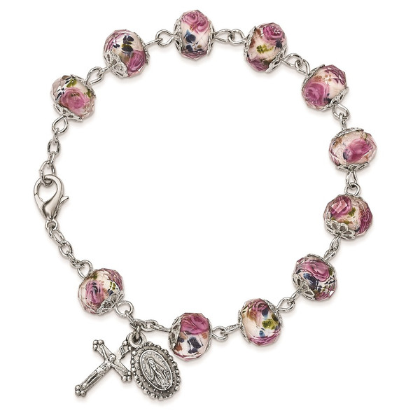 """8"""" Silver-Tone Handpainted White/Pink Beads Rosary Bracelet"""