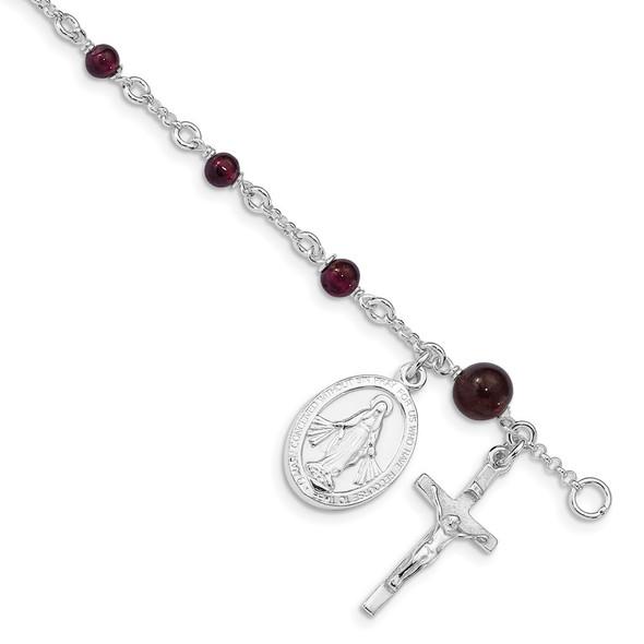 """6"""" Sterling Silver & Rhodolite Garnet Polished Children's Rosary Bracelet"""