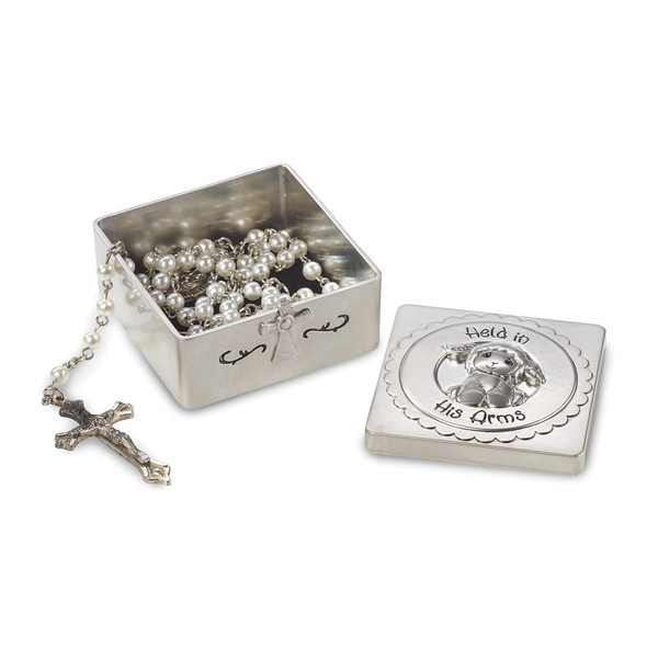Baptism Covered Box With Rosary Necklace