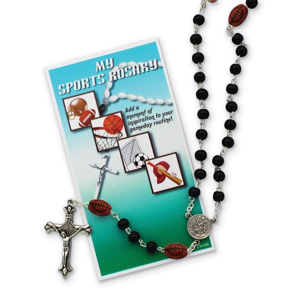"19"" Boys Black Football Sports Rosary Necklace"