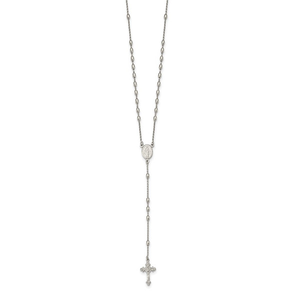 """18""""+1.25"""" Sterling Silver Beaded Rosary Necklace"""
