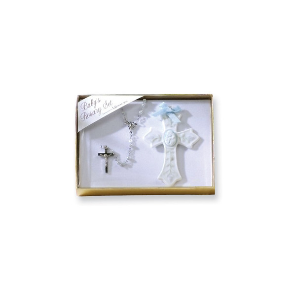 Porcelain and Silver-plated Boys Rosary and Cross Set